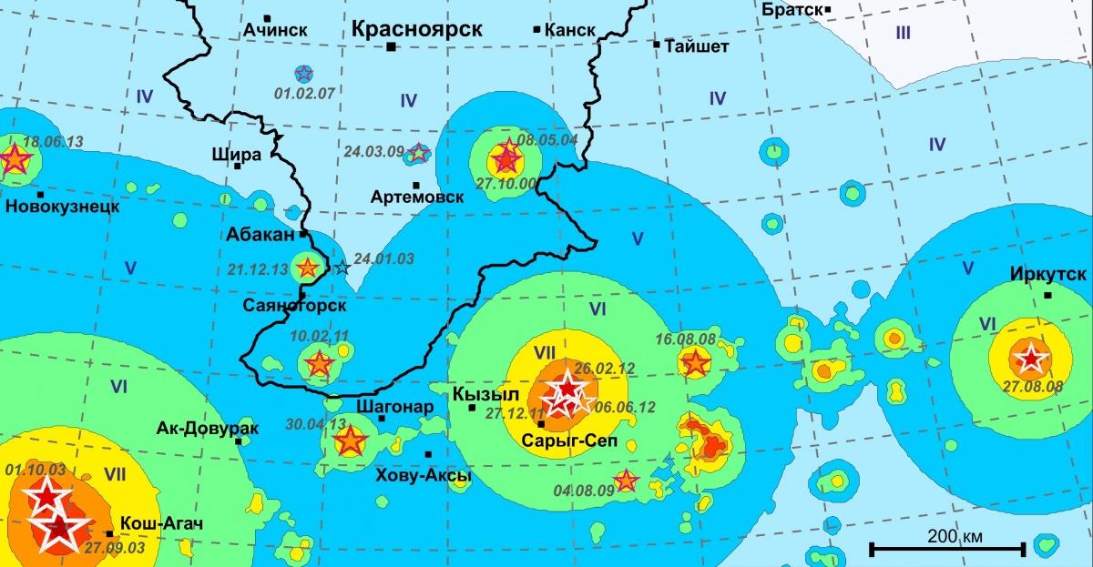 Основные сейсмические очаги поблизости к Красноярску