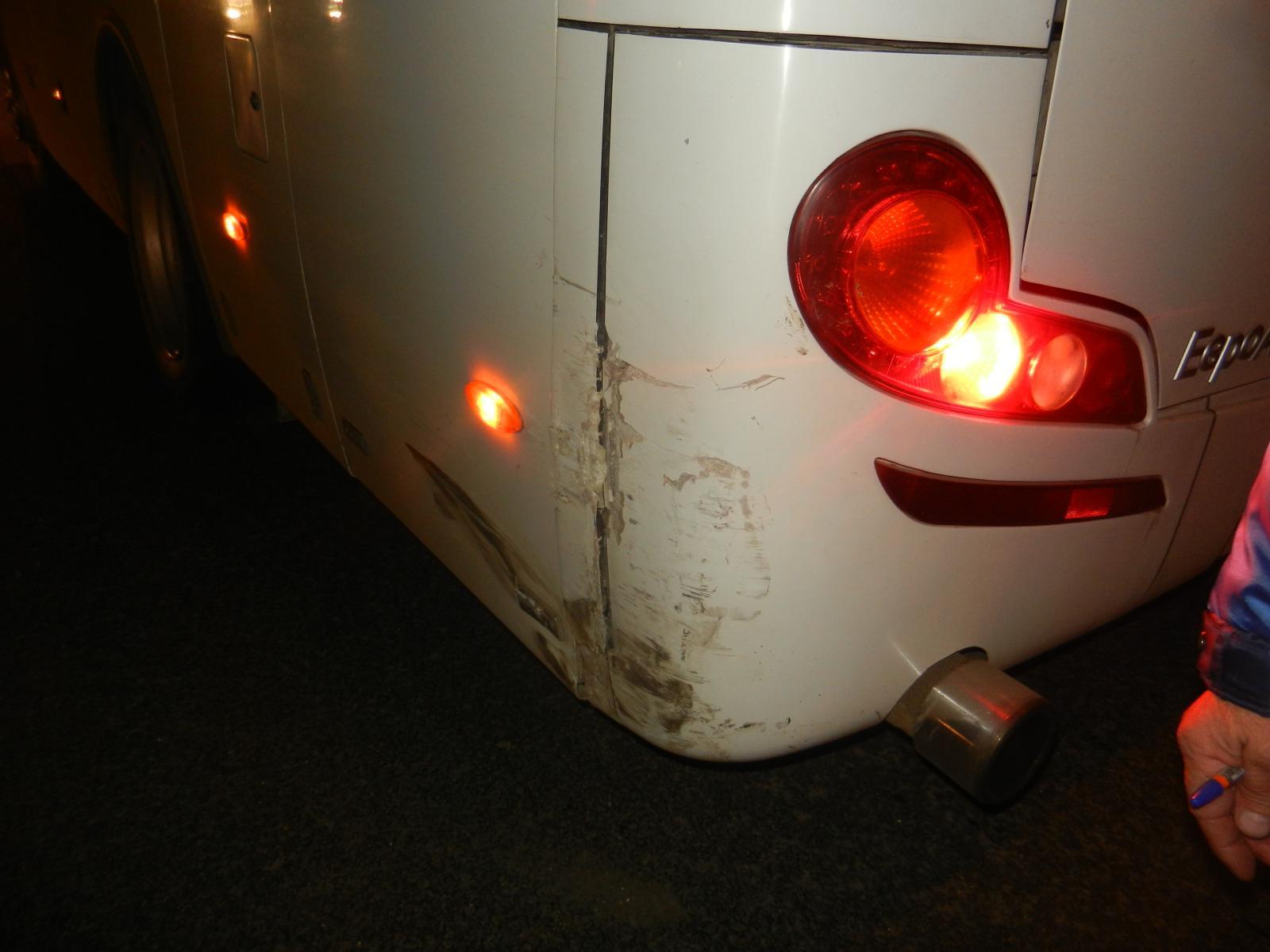 Удар об автобус был несильным —никто из его пассажиров не пострадал