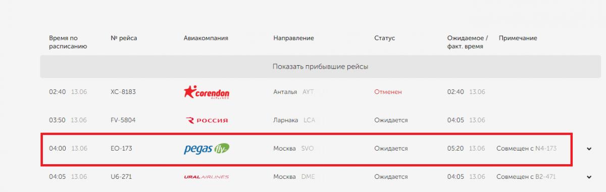 Рейс авиакомпанииPegas Fly должен был прибыть в Екатеринбург с задержкой на час и двадцать минут