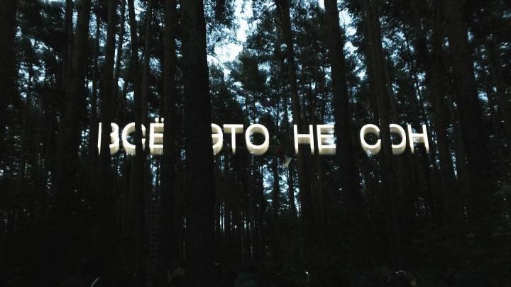 «Всё это не сон»: уличный художник Тимофей Радя написал светящееся послание в лесу