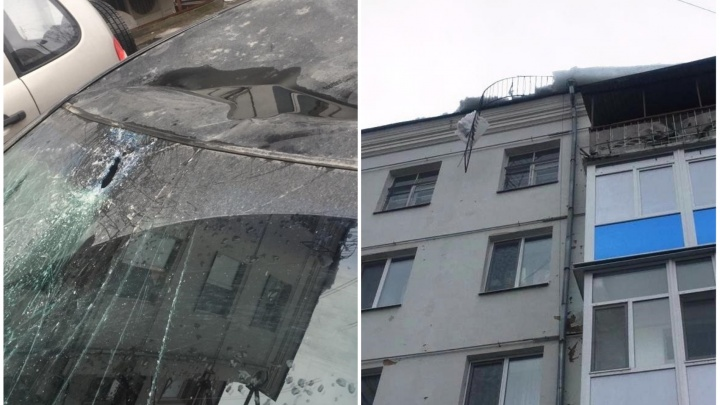 «Ремонта на 300 тысяч»: в центре Екатеринбурга кусок льда пробил лобовое стекло машины