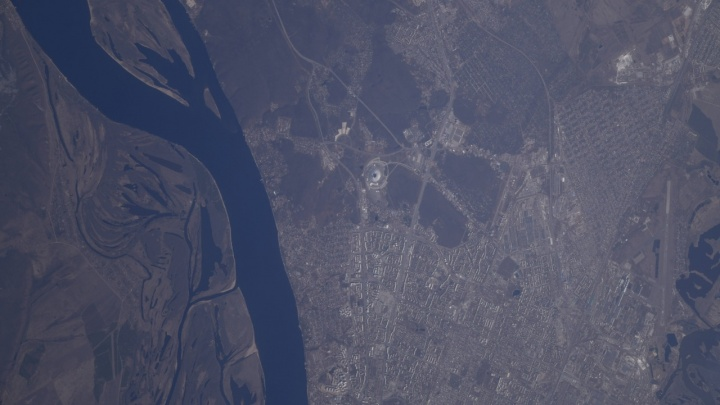 Командир экипажа МКС Олег Кононенко снял «Самара Арену» из космоса