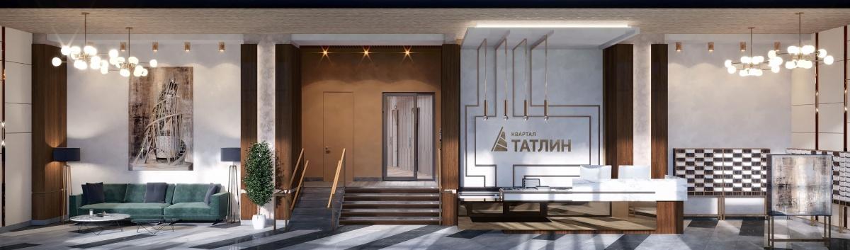 В вестибюле первого дома «Татлина» появятся 3 гостевые зоны с мягкими диванами, столиками и велюровыми креслами