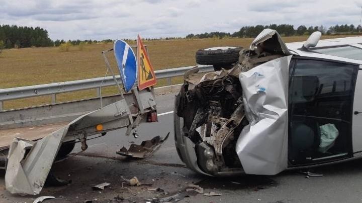 В Самарской области у Курумоча Fiat влетел в машину дорожных рабочих