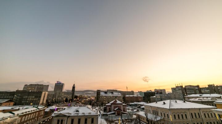 В Красноярск приходит потепление и снег