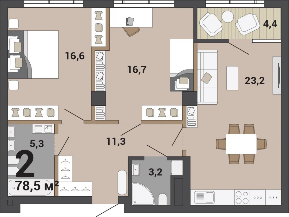 Вариант двухкомнатной квартиры с кухней-гостиной, спальней родителей и детской