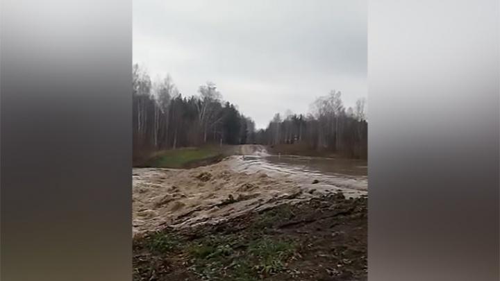 Под Новосибирском прорвало плотину: дорогу затопило бурлящими потоками воды