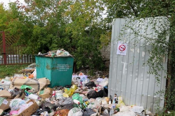 За месяц на контейнерной площадке у дома №5 по улице Шевелевской образовались горы мусора