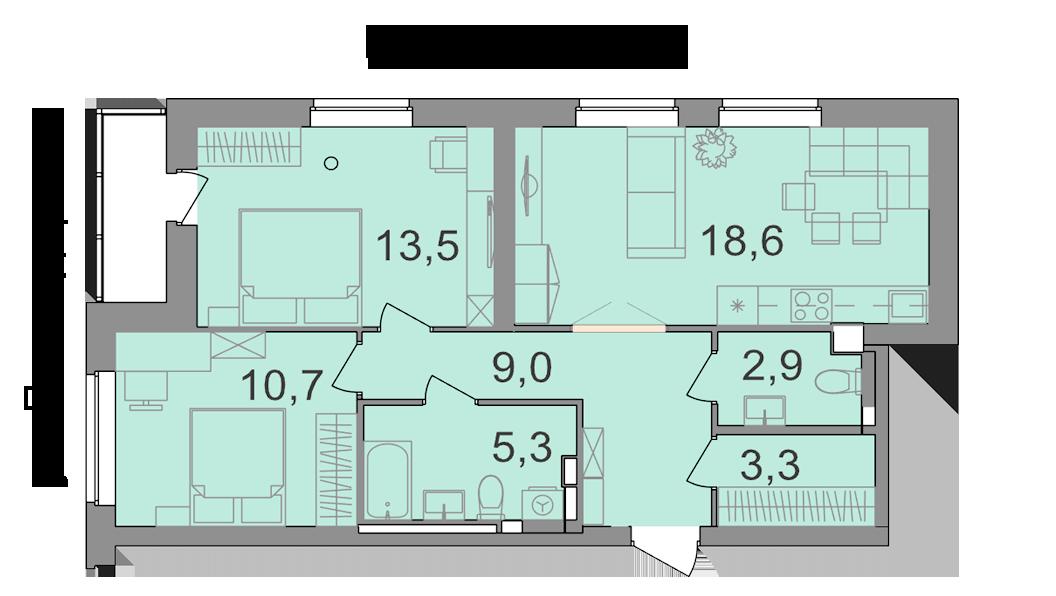 В двухкомнатных квартирах запланированы два санузла и гардеробная