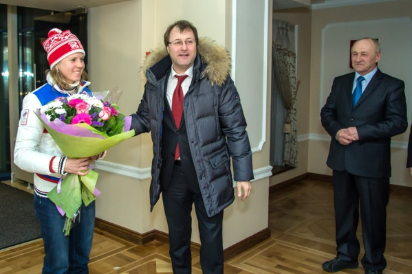 Бывший министр спорта области Александр Фабрициус и Яна Романова