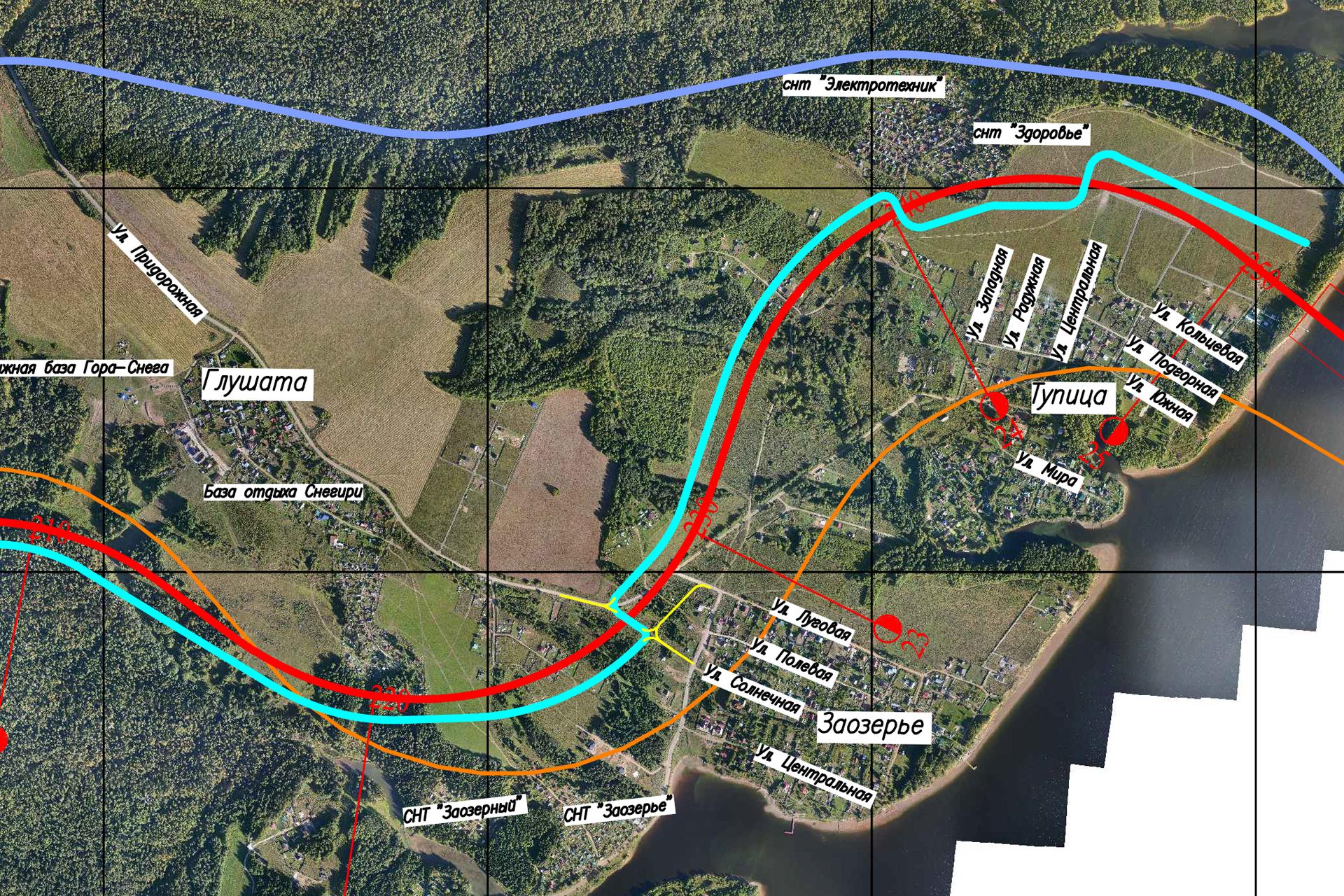 Синим цветом обозначена проектируемая линия железной дороги, которую сейчас рассматривают власти для прохождения Северного железнодорожного обхода