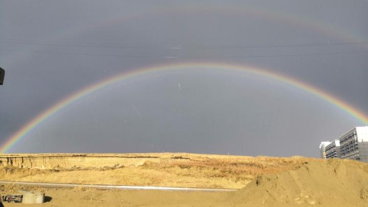 Последняя радуга перед резким похолоданием озарила Красноярск