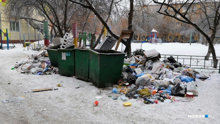 Мусорные баки возле мэрии остаются завалены отходами. Шел 13-й день мусорной реформы