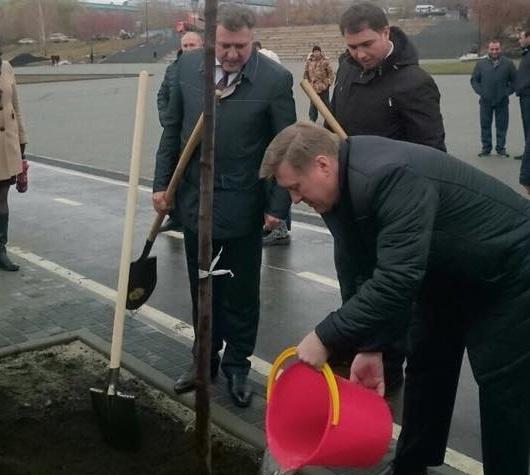 Мэр Новосибирска Анатолий Локоть поливает саженец яблони на Михайловской набережной