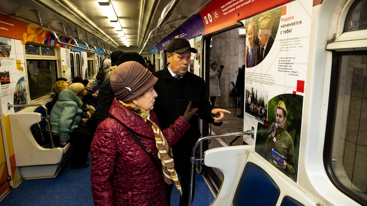 В новосибирском метро появился вагон, украшенный фотографиями интересных социальных проектов