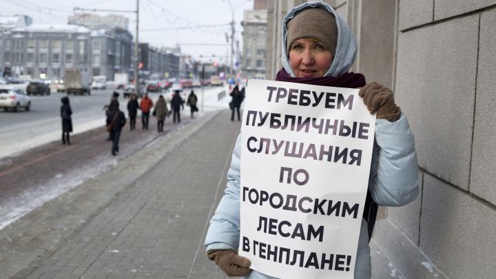 «Верните лес горожанам»:пикетчики с плакатами окружили мэрию Новосибирска