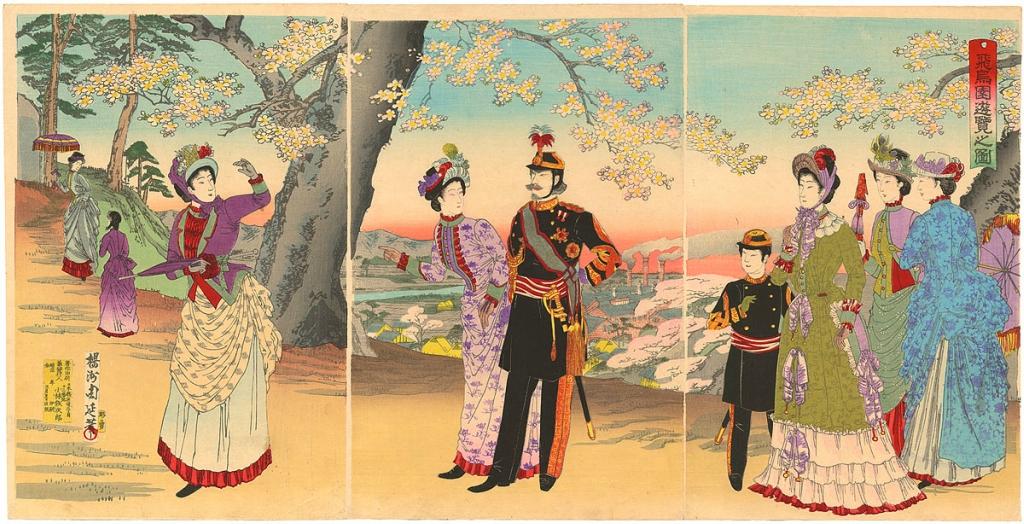 Работа Ёсю Тиканобу «Император Мэйдзи отдыхает в парке Асукаяма»