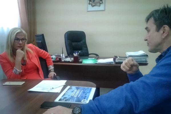 Марк Рассказов на встрече с руководителем департамента культуры, спорта и молодежной политики мэрии Новосибирска Анной Терешковой