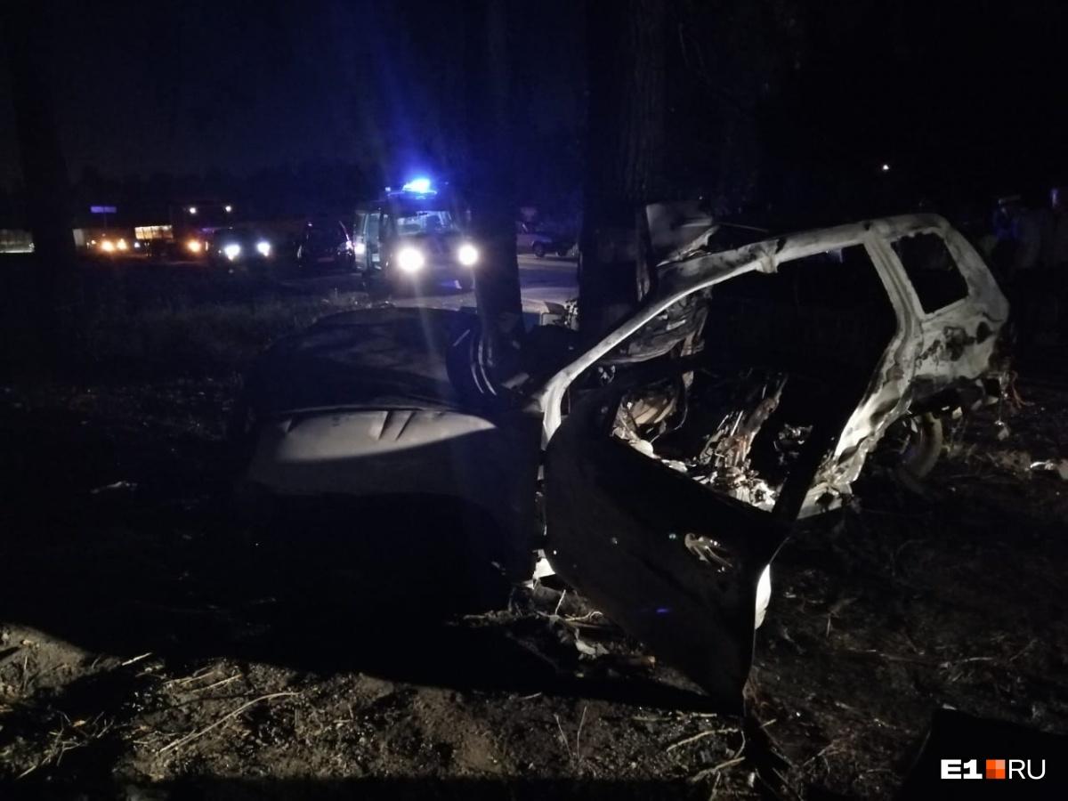 Автомобиль въехал в дерево и загорелся