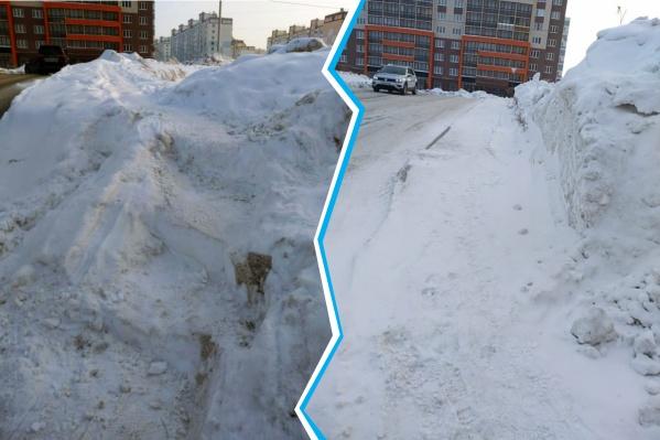 Из-за огромной горы снега на дороге пенсионерке пришлось пробить ломом ступени