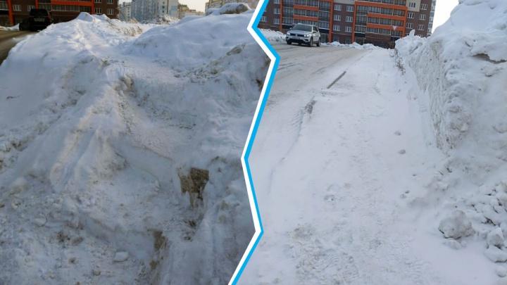 После публикации НГС в Новосибирске уничтожили ступеньки, сделанные на сугробе посреди тротуара