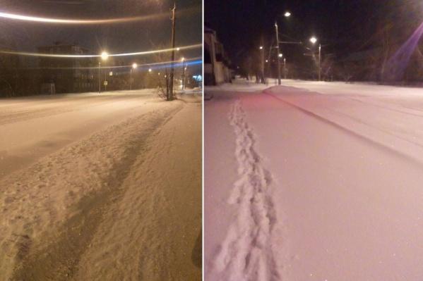 Ночью уже убранные улицы снова занесло снегом