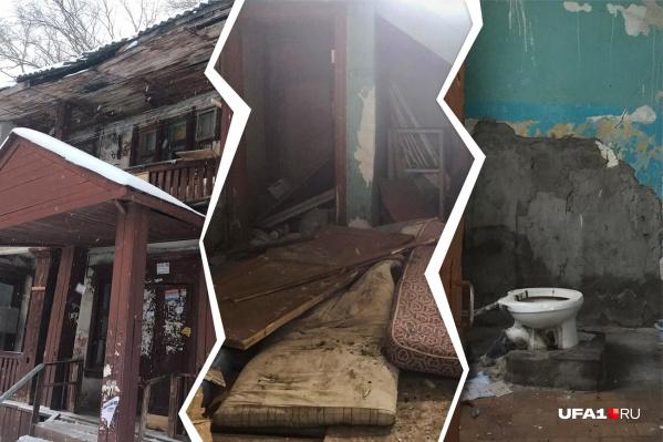 Не верится, что старый, прогнивший, необитаемый дом — отнюдь не на окраине города, а сразу за красной линией на проспекте Октября в столице Башкирии