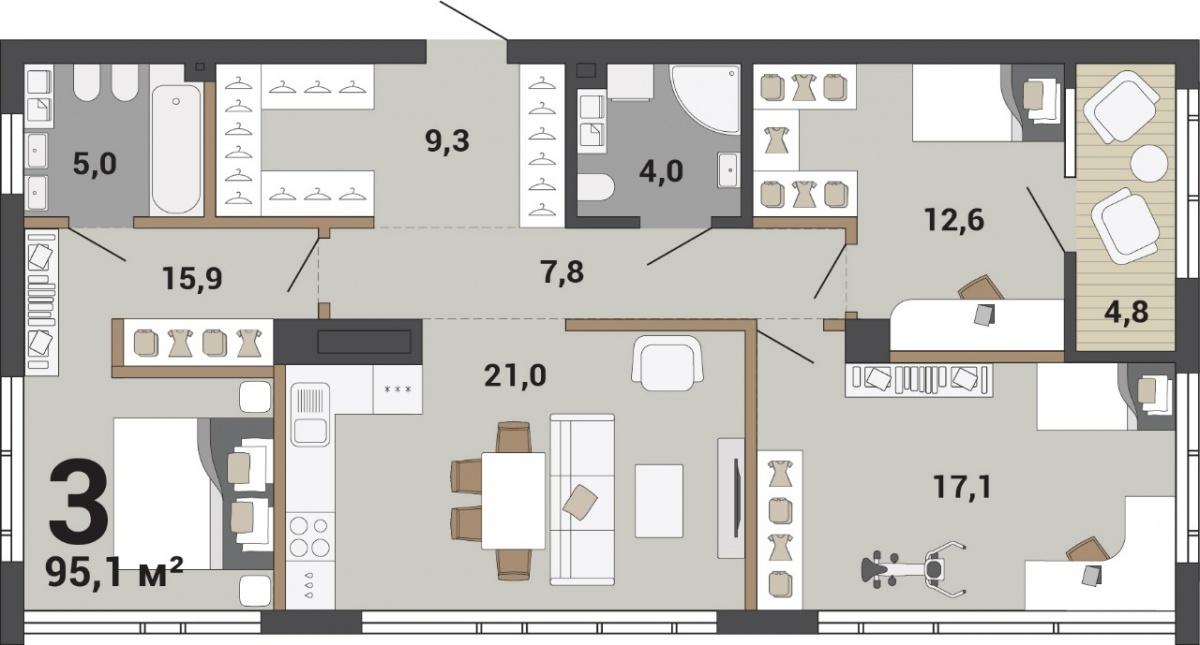 Такое пространство можно поделить как на три просторных комнаты, так и на четыре