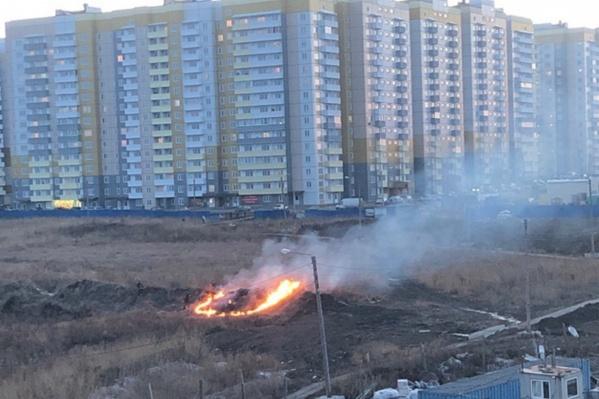 Жители «Солнечного» заметили, как дети поджигают траву