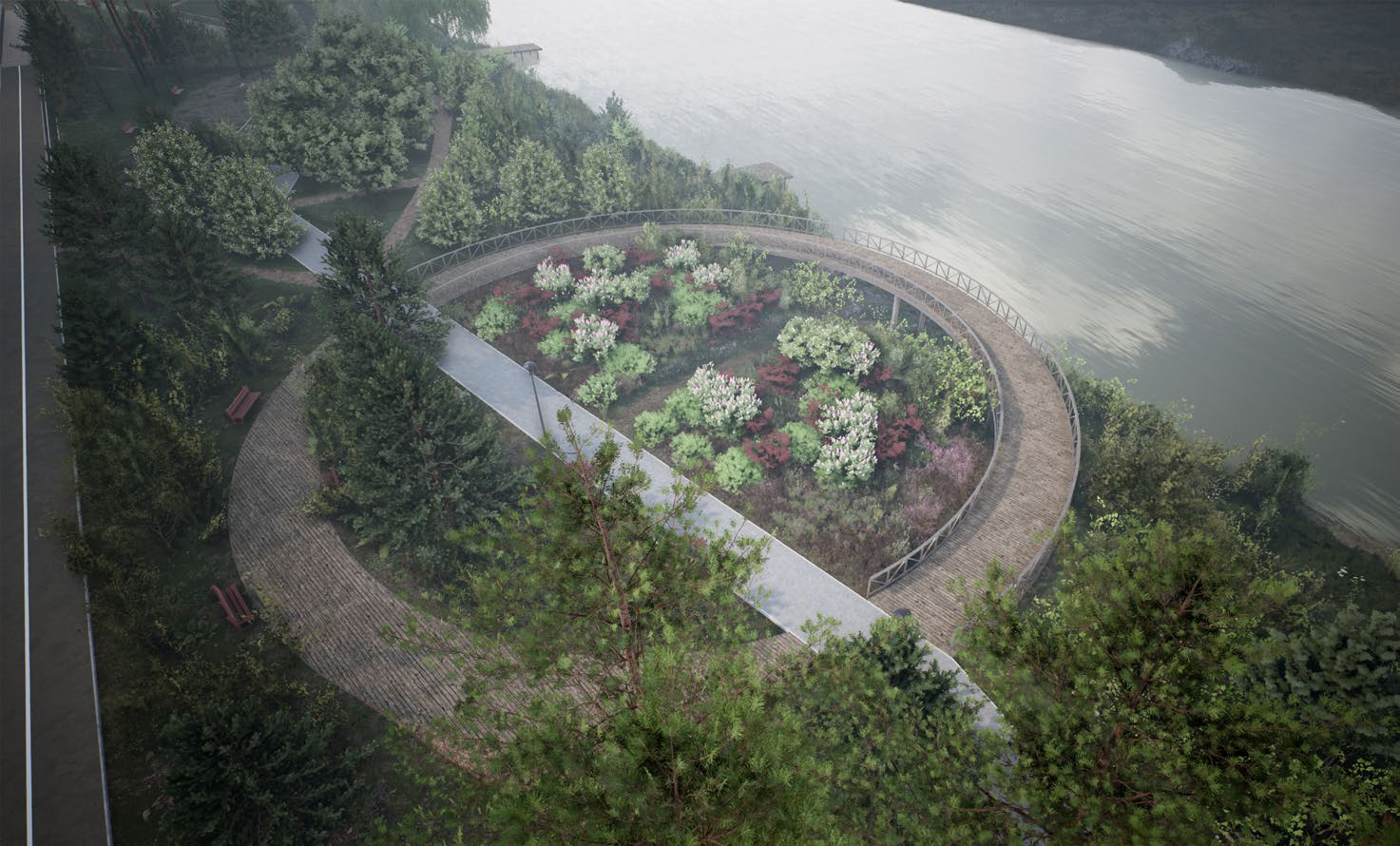 «Птичий сад» внутри кольцевой смотровой площадки — густые заросли с плодовыми деревьями и колючими кустарниками, где могут безопасно жить птицы и животные