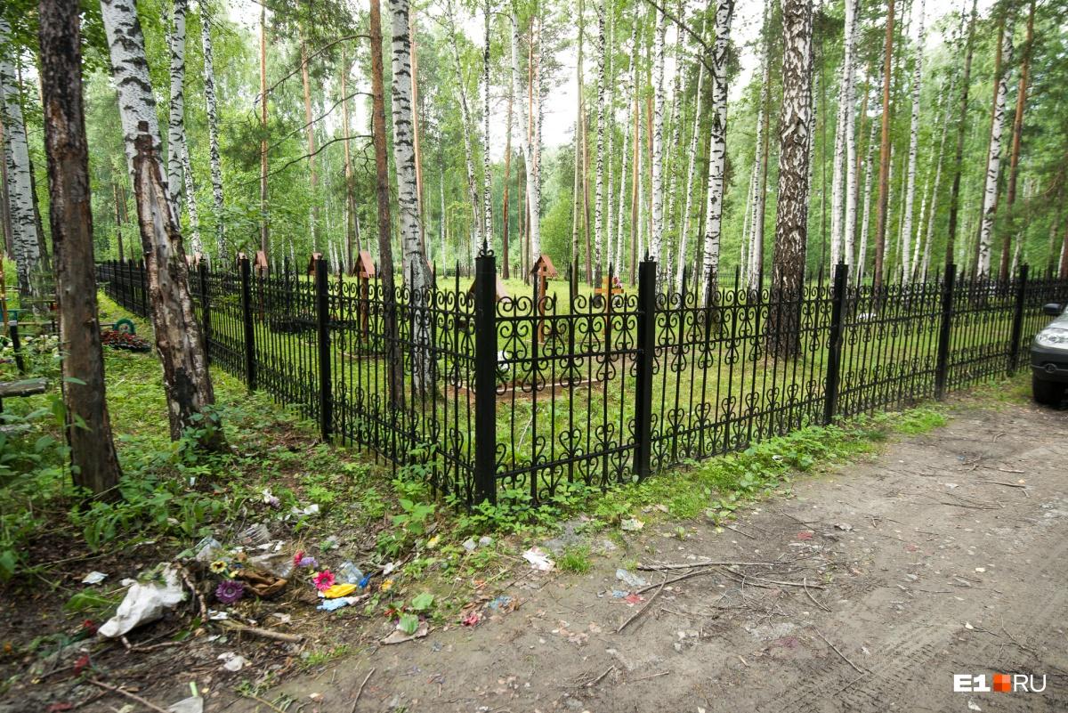 Монастырский участок отделен забором