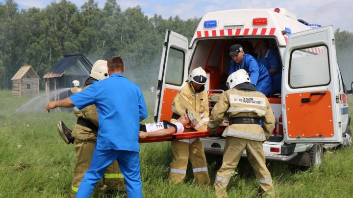 Зауральские спасатели отрабатывали ликвидацию пожара в Республике Казахстан