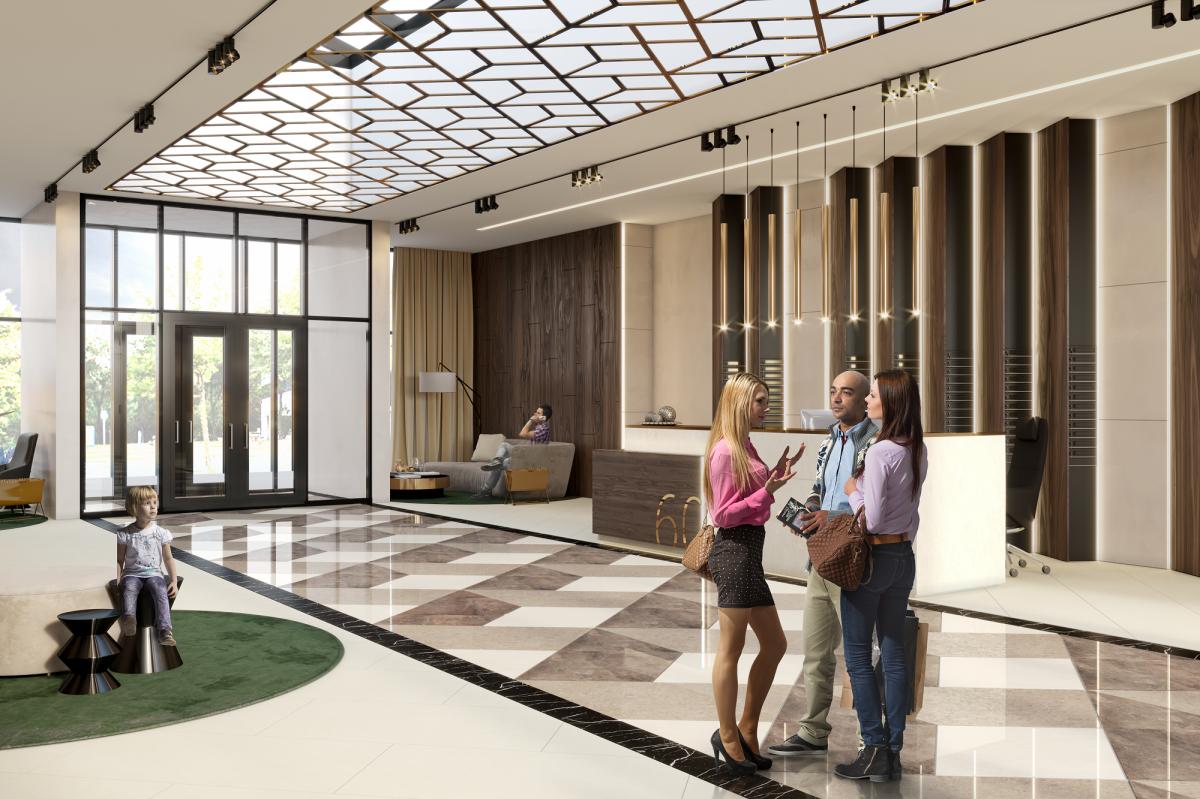 Из вестибюля можно будет попасть в паркинг, жилые помещения и выйти в сад