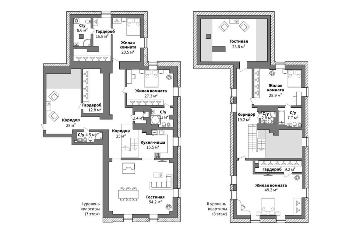Планировка двухуровневой квартиры в мельнице за 47 миллионов рублей