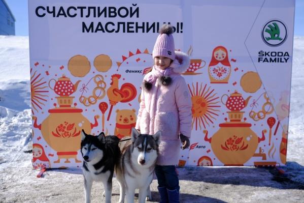Во время гуляний в фотозоне можно было сделать памятные снимки с дружелюбными собаками породы хаски.