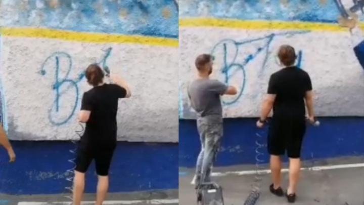 Видео: хоккеист Владимир Тарасенко оставил автограф на стене с граффити у ЛДС