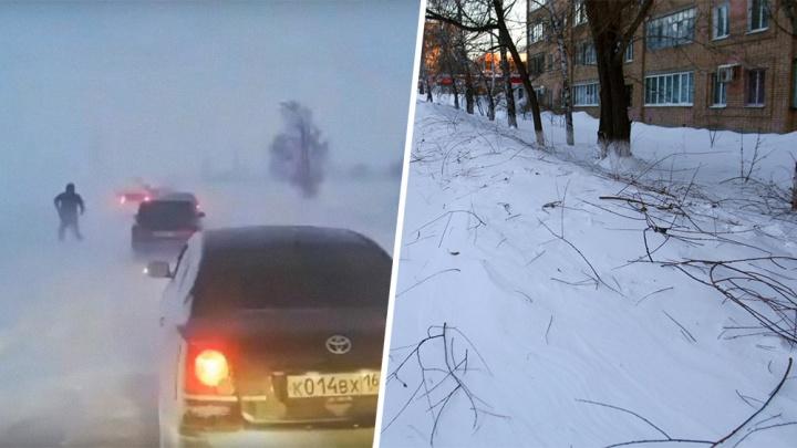 Ловушка для водителей и перевернутый мишка: какие беды натворил буран в Самарской области