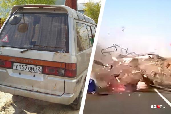 Автомобиль, на котором передвигалась семья, разнесло в щепки