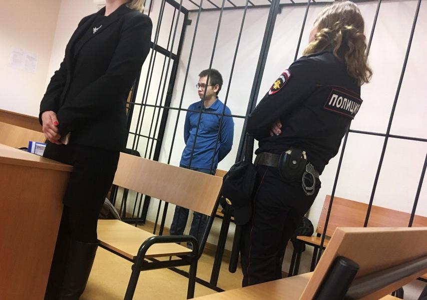 Дмитрий Фальков в зале суда. С момента задержания и до оглашения приговора он находился в СИЗО