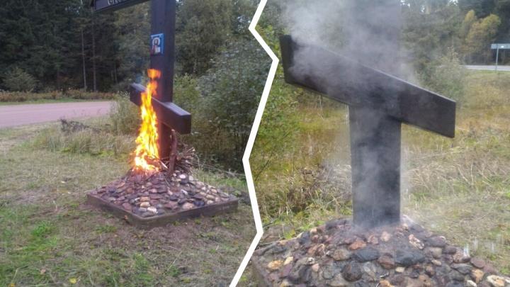 «На нём были зарубки»: в Ярославской области подожгли православный крест с иконой