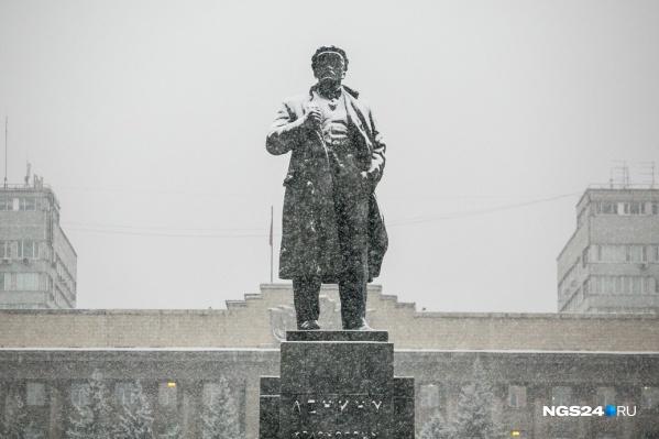 Крупный снегопад прошел в Красноярске 1 ноября