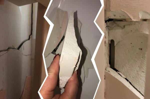 Стены в новостройке трескаются, из них вываливаются куски штукатурки
