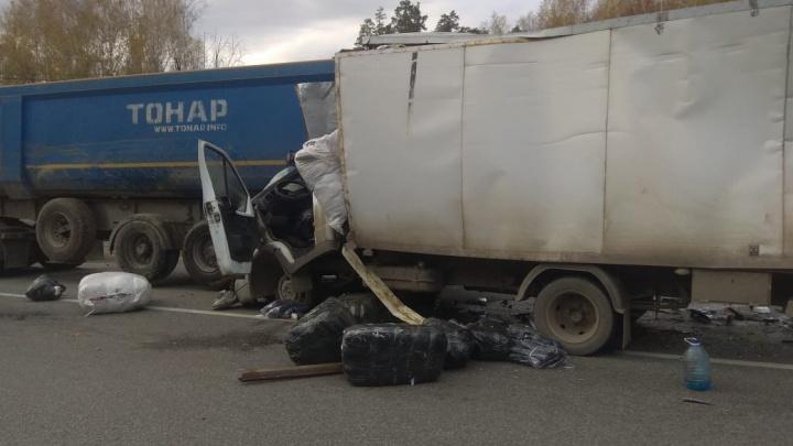 На выезде из Екатеринбурга «газель» врезалась в стоящий на обочине грузовик с прицепом
