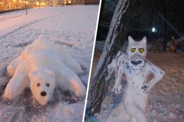 Жители города лепят из снега не только обычных снежных баб, но и героев мультфильмов