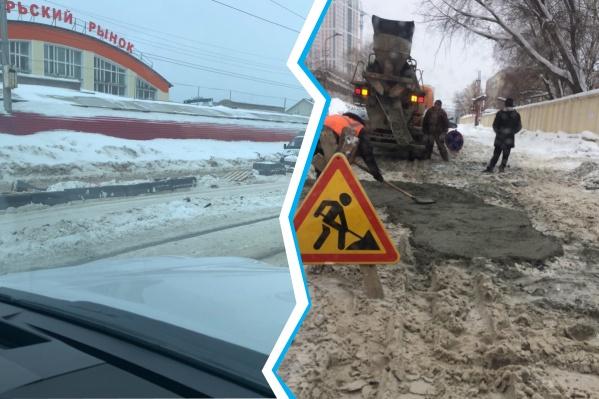 На Гурьевской в снег уложили бордюры, а на улице Демьяна Бедного — асфальт