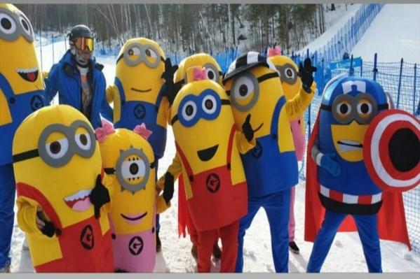 Мультяшки болели за лыжников