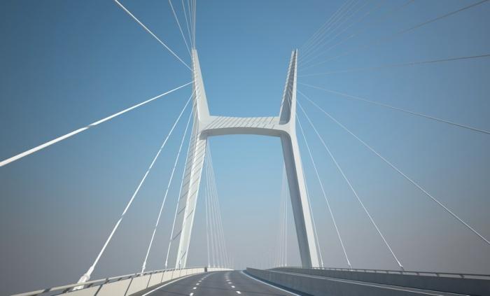 Самая заметная и красивая деталь нового моста —огромный пилон в виде буквы «Н»