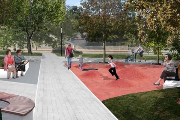 В проекте сквера есть необычные зоны для детей