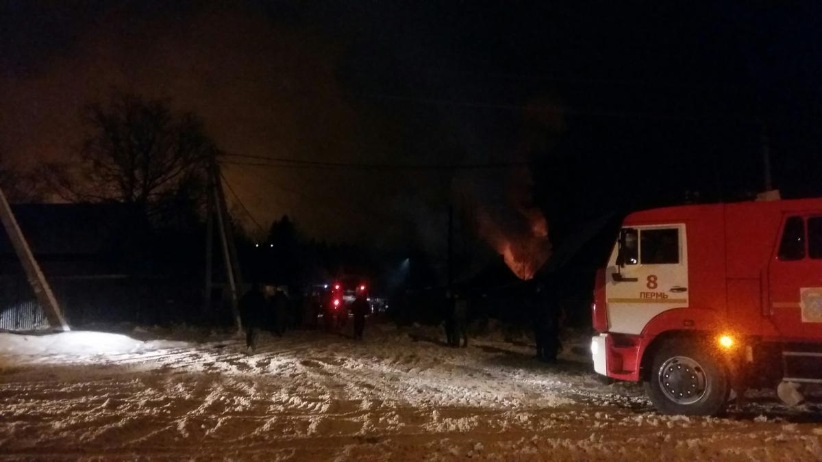 Пожар произошел вечером