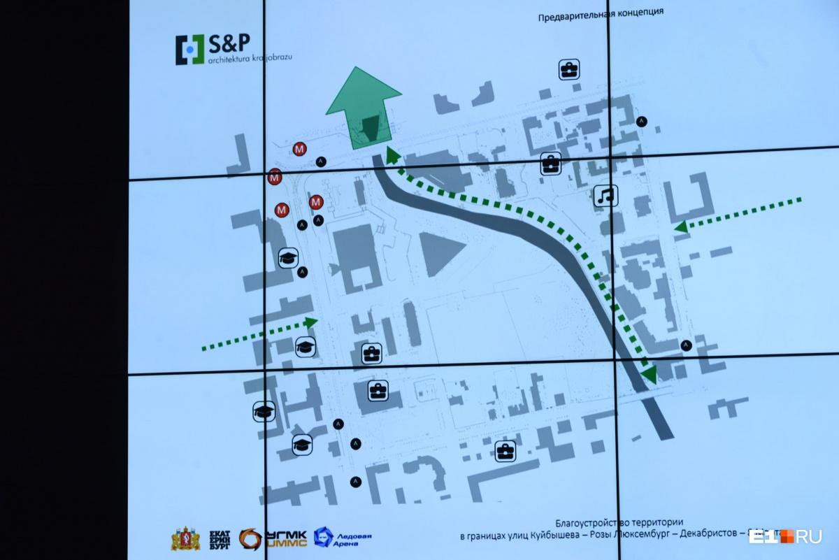 Зона, которую собираются благоустроить, находится в границах улиц Куйбышева, Розы Люксембург, Декабристов и 8 Марта